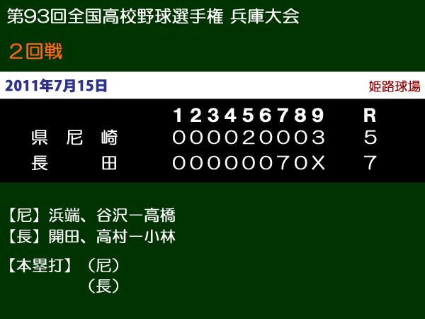 第93回全国高等学校野球選手権兵庫大会2回戦・長田vs県尼崎