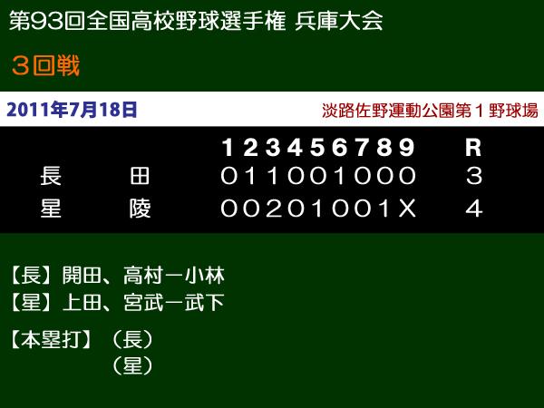 第93回全国高等学校野球選手権兵庫大会3回戦・長田vs星陵