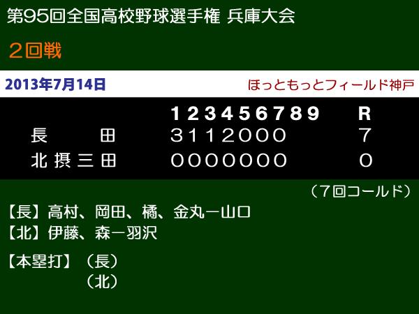 第95回全国高等学校野球選手権兵庫大会2回戦・長田vs北摂三田