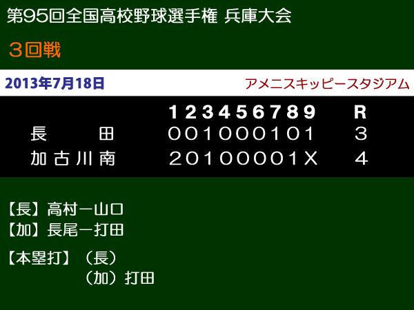 第95回全国高等学校野球選手権兵庫大会3回戦・長田vs加古川南