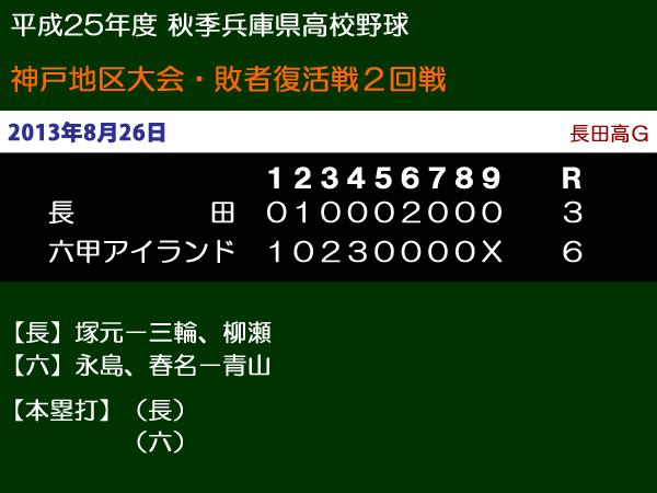 平成25年度秋季兵庫県高校野球神戸地区大会敗者復活2回戦・長田vs六甲アイランド