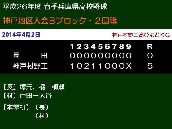 平成26年度春季兵庫県高校野球神戸地区大会Bブロック2回戦・長田vs神戸村野工