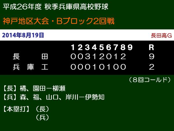 平成26年度秋季兵庫県高校野球神戸地区大会Bブロック2回戦・長田vs兵庫工