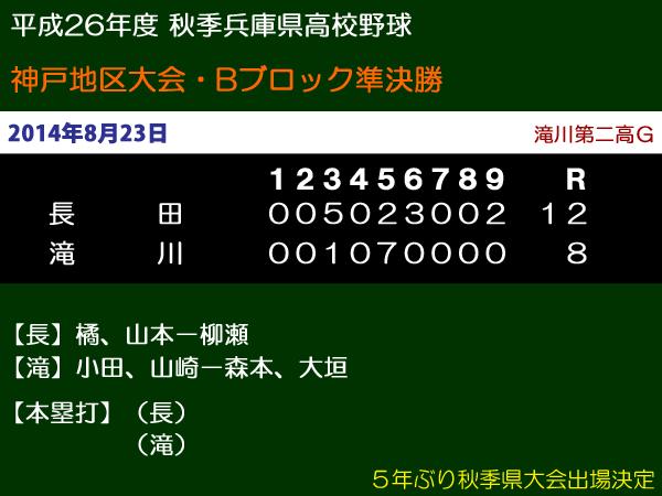 平成26年度秋季兵庫県高校野球神戸地区大会Bブロック準決勝・長田vs滝川