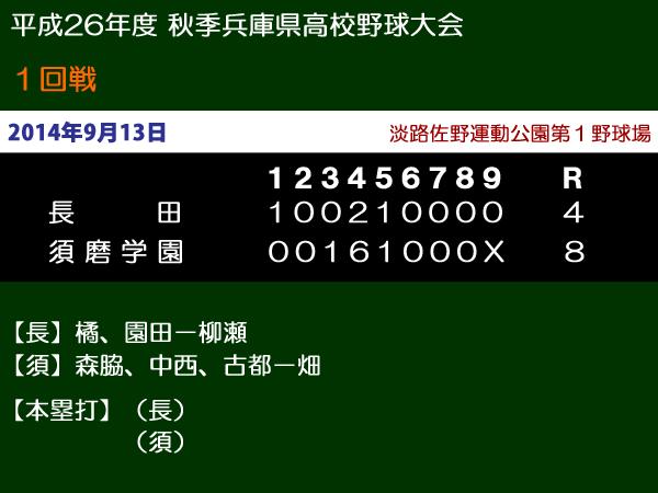 平成26年度秋季兵庫県高校野球大会1回戦・長田vs須磨学園