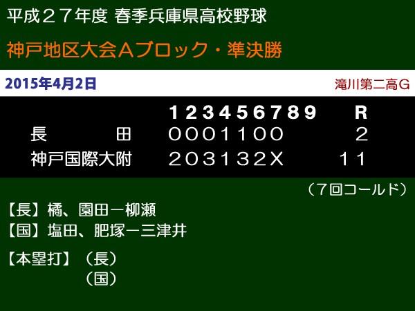 平成27年度春季兵庫県高校野球神戸地区大会Bブロック準決勝・長田vs神戸国際大附