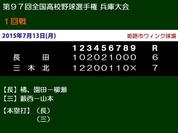 第97回全国高校野球選手権兵庫大会1回戦・長田vs三木北